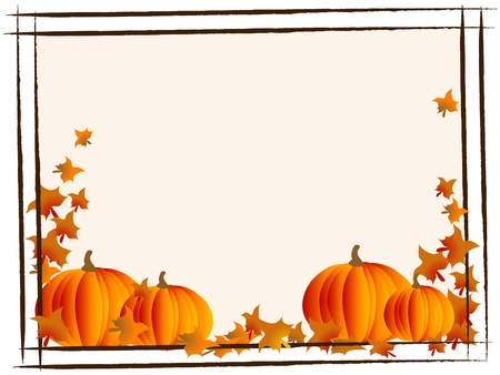 fall harvest: Abstract frame with orange pumpkins