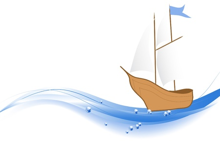 wavelet: Abstract wave with the ship Illustration