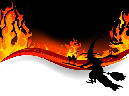 cauldron: Halloween witch fly in flames Illustration