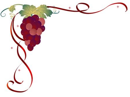 bordure vigne: Contexte abstrait avec les raisins Illustration