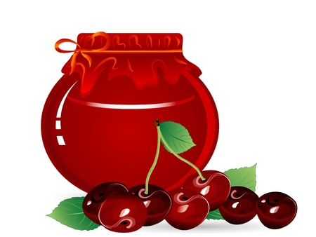 Jar of cherry jam and red cherries Vector