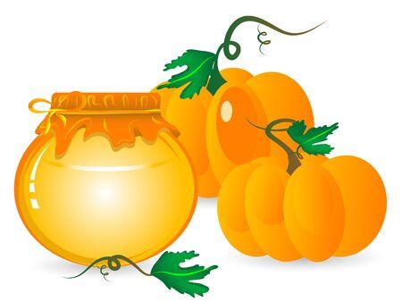 marmalade: Jar of pumpkin marmalade and orange pumpkins