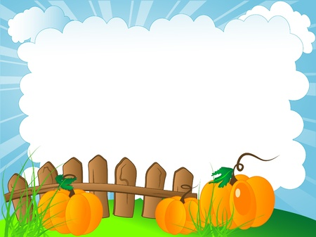 Cloudy background with the wooden fence and pumpkins Illustration