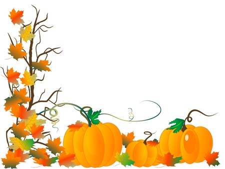 pumpkin leaves: Abstract background with pumpkins and autumn leaves Illustration