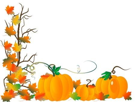citrouille: R�sum� de fond avec les citrouilles et les feuilles d'automne
