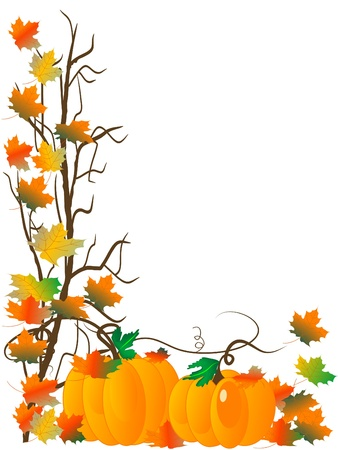 fall border: Abstract background with pumpkins and autumn leaves Illustration