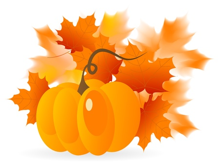 fall leaves border: Abstract background with pumpkins and autumn leaves Illustration