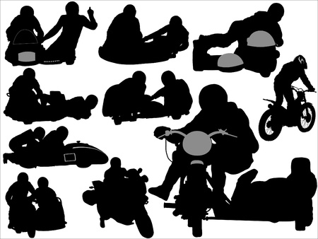 sidecar motocross racing: Silhouettes of sidecars and motorcycles