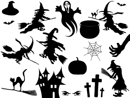 cobwebs: Collection of Halloween elements