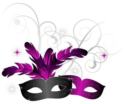 Carnival facemasks on white background
