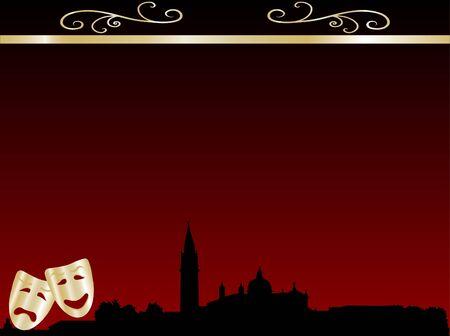 Theatre masks against the venetian skyline Vector
