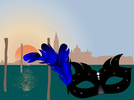 Venice skyline and the black face mask Vector