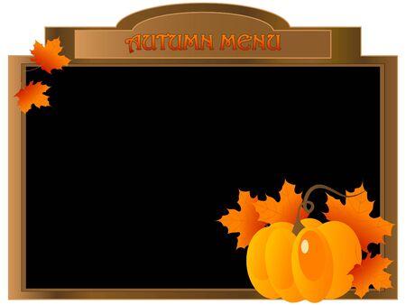 pumpkin border: Menu board with pumpkin and leaves