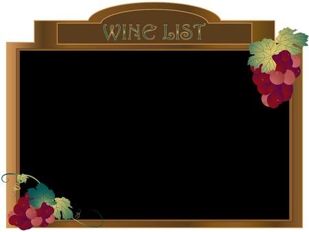 Wine list on the wooden board
