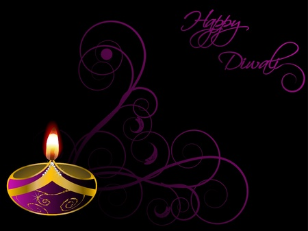 candlelight: Black Diwali background with lamp Illustration