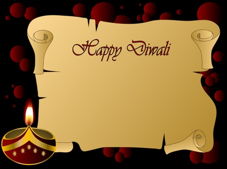 luminary:  Diwali background with lamp and scroll