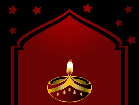 magic lamp: Black Diwali background with lamp and mosque Illustration