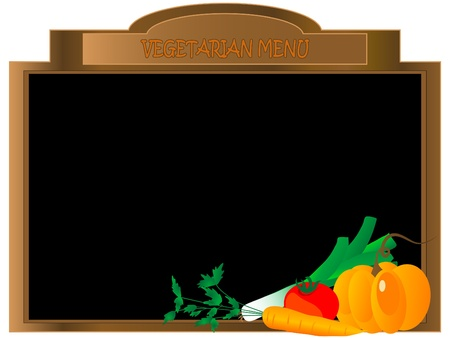 Menu board with fresh vegetables Vector