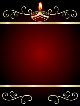 hinduism: Black Diwali background with lamp Illustration