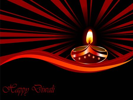 Black Diwali background with lamp Vector