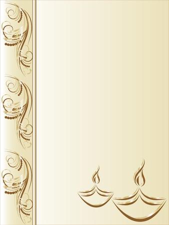 luz de velas: Elegante tarjeta de felicitaci�n con l�mparas de Diwali Vectores