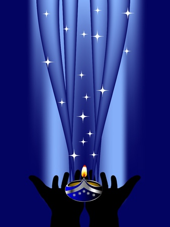 candlestand: Diwali lamp in human hands Illustration
