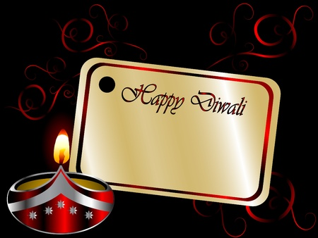 luminary: Black Diwali background with lamp Illustration