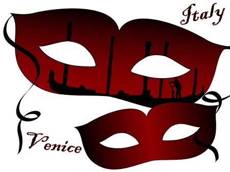 venice italy: Two red venetian carnival masks Illustration