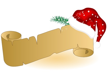 Christmas parchment with Santas hat Illustration