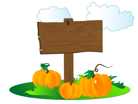Wooden signboard with the pumpkins Stock Vector - 10988206