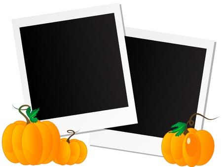 Blank polaroid frames with pumpkins Vector