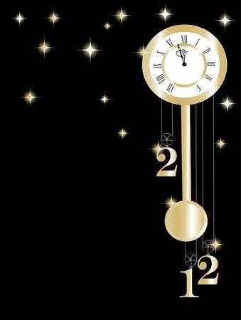 reloj de pendulo: Año nuevo reloj en oro y negro Vectores