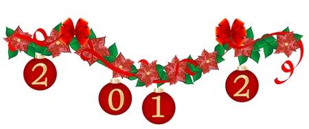 adventskranz: Weihnachten Girlande mit roten Kugeln Illustration