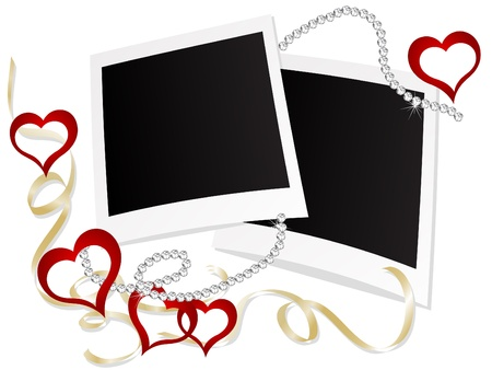 Blank polaroid frames with hearts Vector