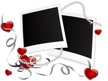 Blank polaroid frames with hearts Vector