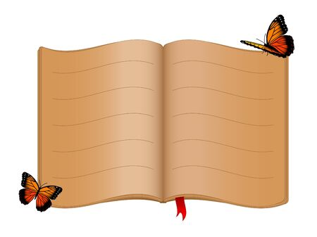 Open old book and butterflies Vector