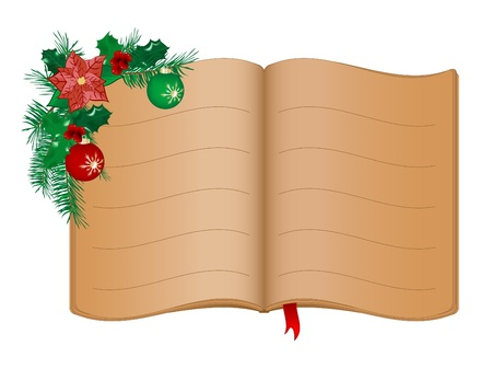 mistletoe: Open old book and Christmas garland Illustration