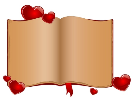 Open old book and red hearts