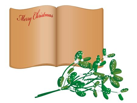 Open old book and snowy mistletoe Vector