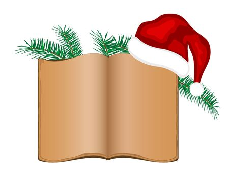 Old open book with needles and Santas hat