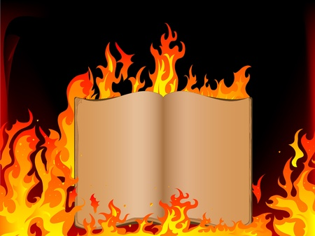 open flame: Old open book in fire Illustration