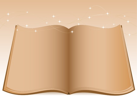 Open old book and christmas lights Vector