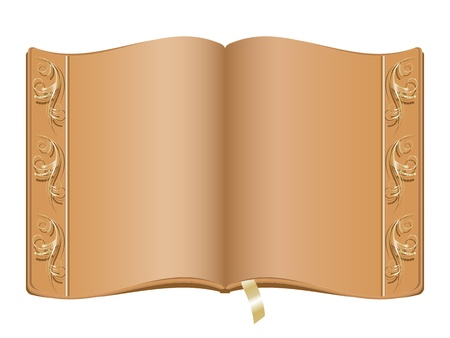 history books: Elegant book with golden border Illustration