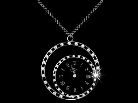 diamonds on black: Diamond necklace with the clock
