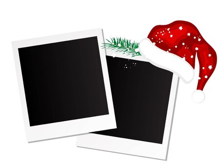 Photo frames with Santas hat Vector