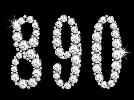 glittery: Diamond numbers on black background