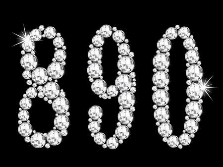 glittery: Diamond numbers on black background