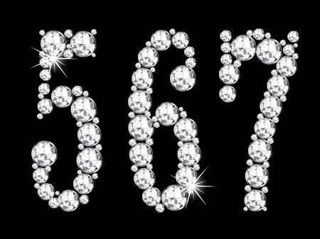 Diamond numbers on black background