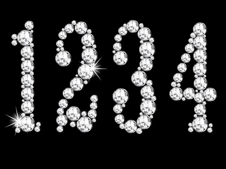 joyas de plata: Diamante n�meros sobre fondo negro