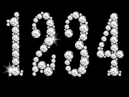diamond jewelry: Numeri di diamante su sfondo nero Vettoriali